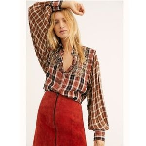 Free People Snow Top Mountain Plaid Top